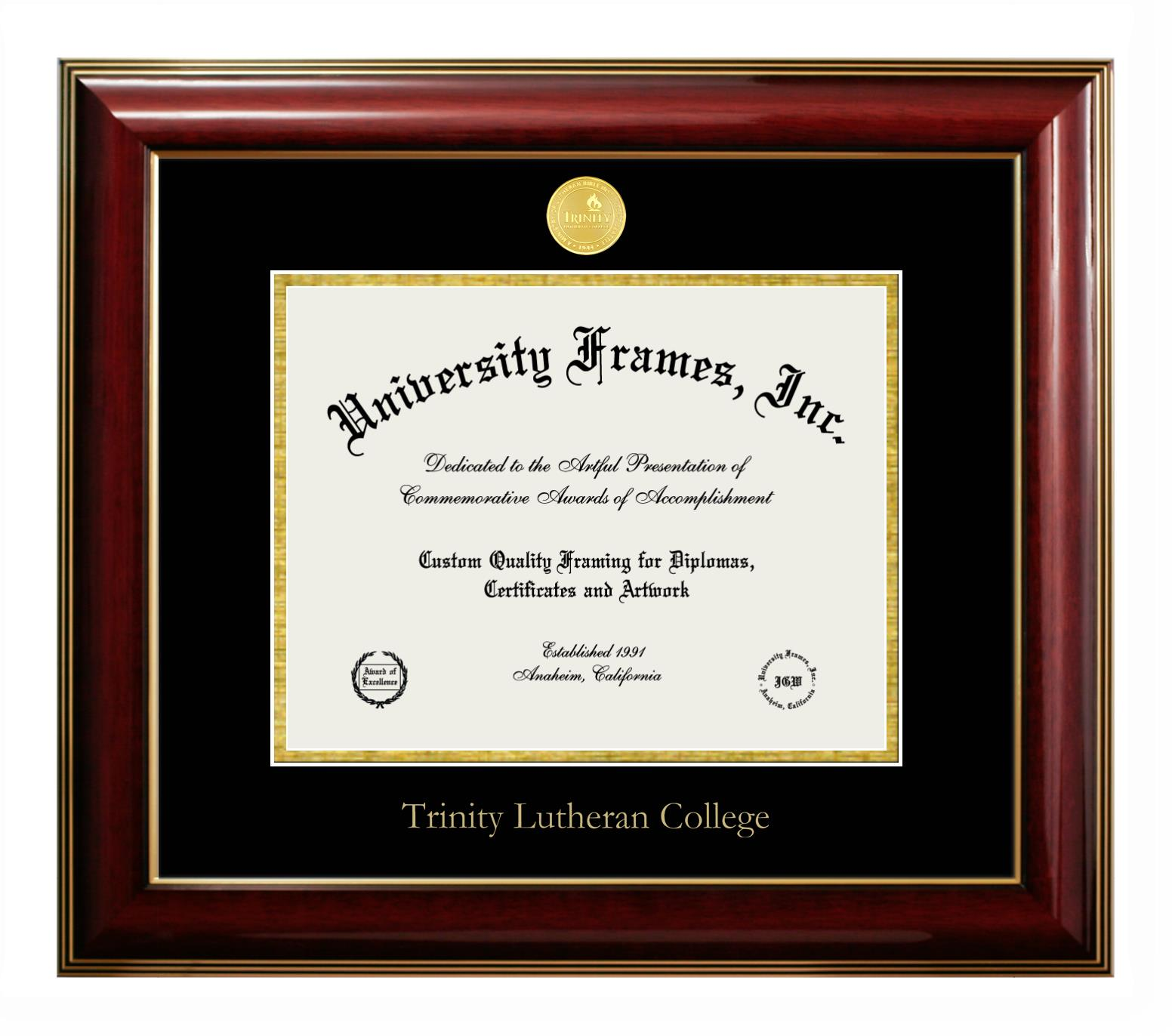 Trinity Lutheran College Diploma With Tassel Box Frame In Satin Black With Black Gold Mats