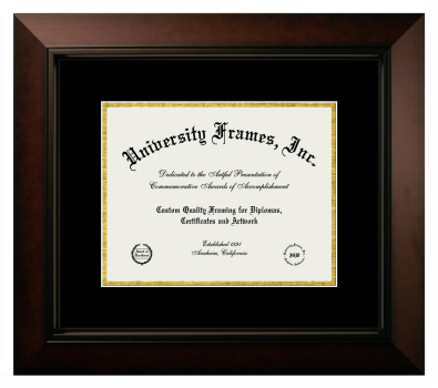 Unimprinted Mat Diploma Frame in Legacy Black Cherry with Black & Gold Mats