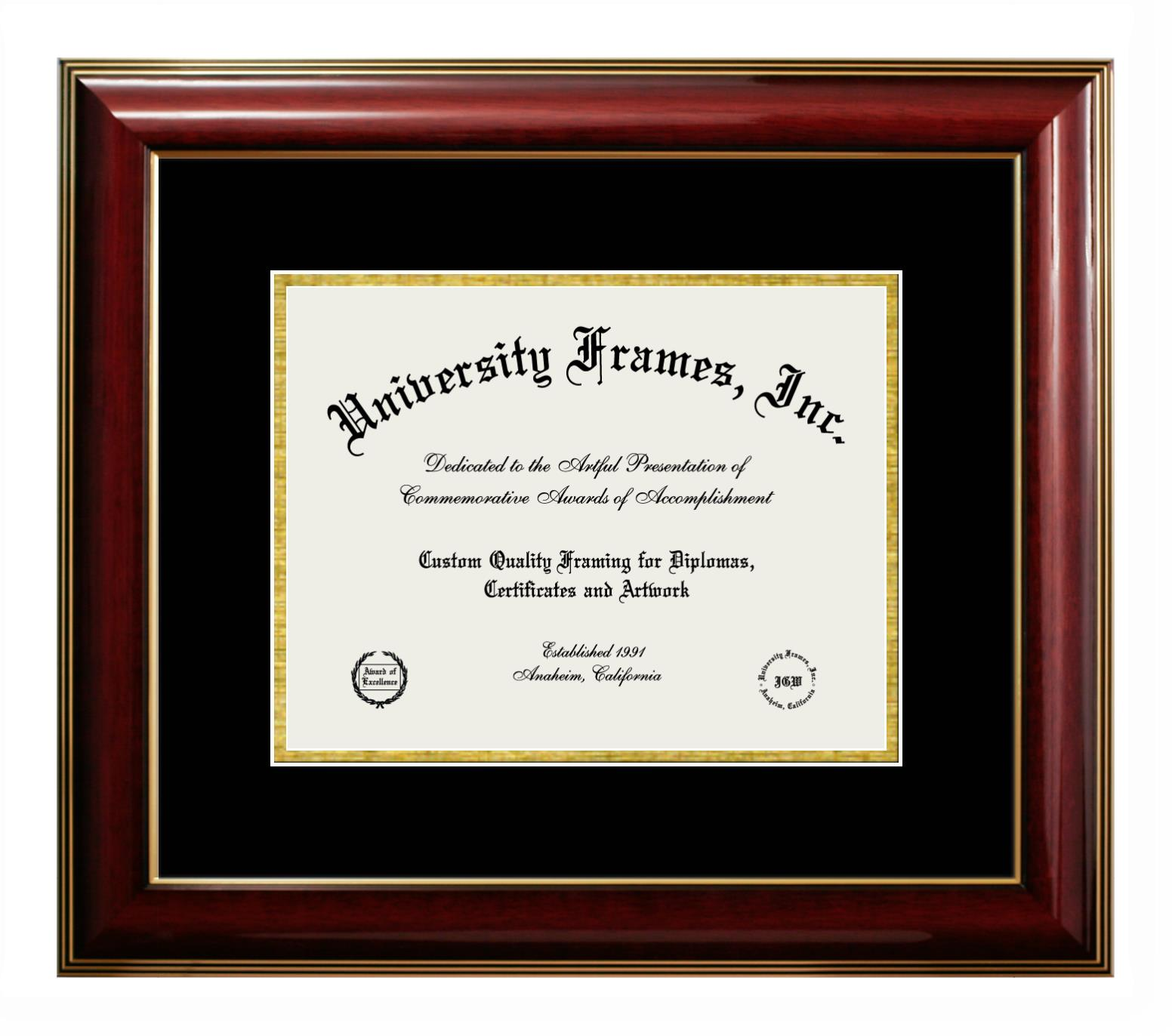 Diploma Frame in Classic Mahogany with Gold Trim with Black & Gold Mats