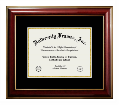 Unimprinted Mat Diploma Frame in Classic Mahogany with Gold Trim with Black & Gold Mats