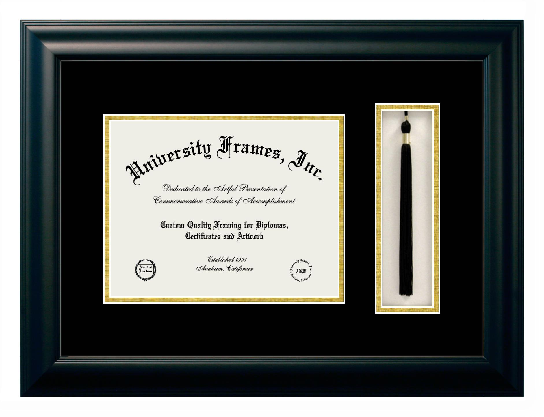Diploma with Tassel Box Frame in Satin Black with Black & Gold Mats
