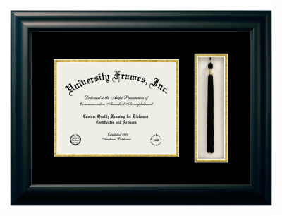 Unimprinted Mat Diploma with Tassel Box Frame in Satin Black with Black & Gold Mats