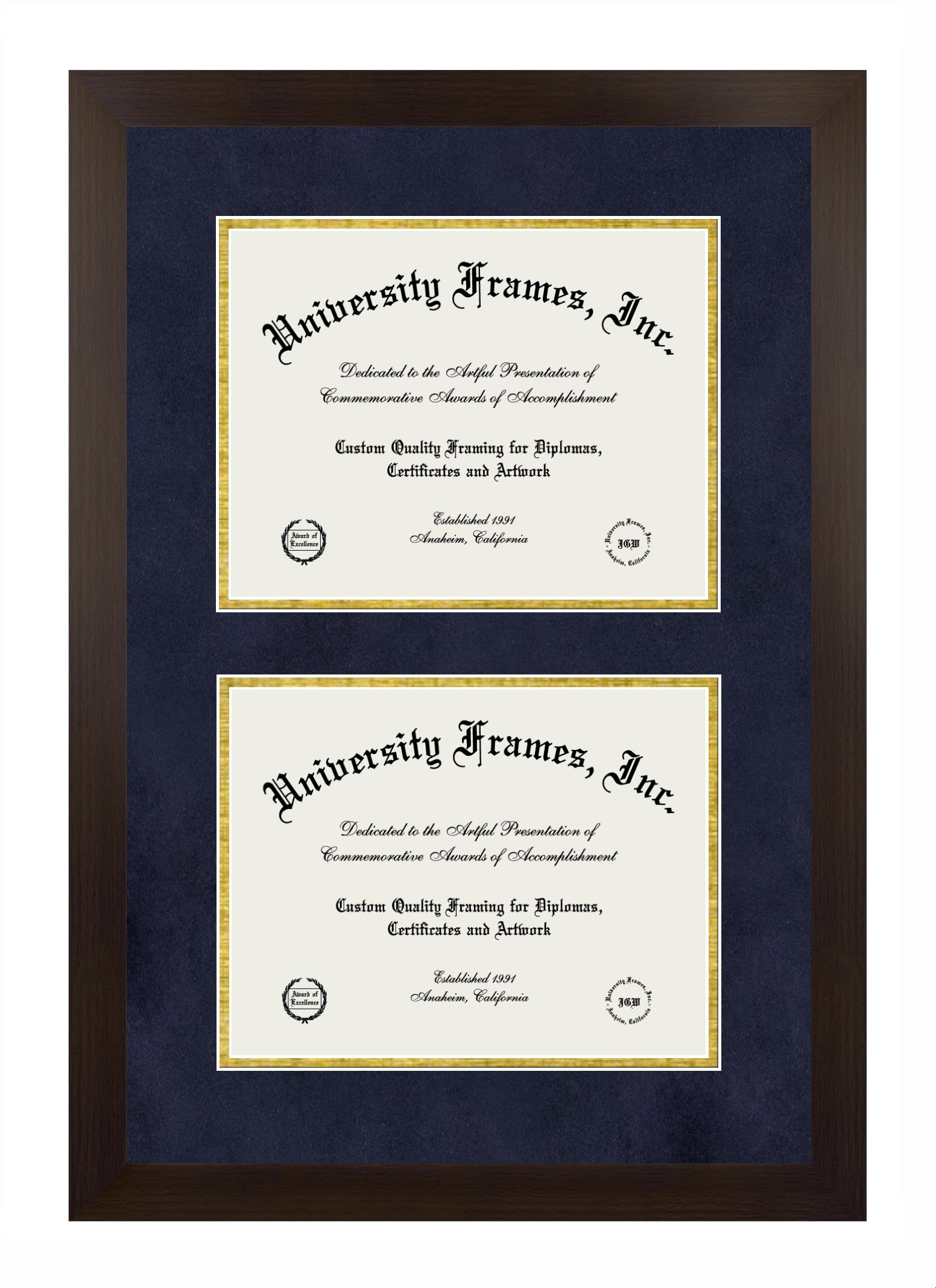 Double Degree (Stacked) Frame in Manhattan Espresso with Navy Suede & Gold Mats