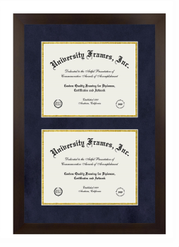 Unimprinted Mat Double Degree (Stacked) Frame in Manhattan Espresso with Black & Gold Mats