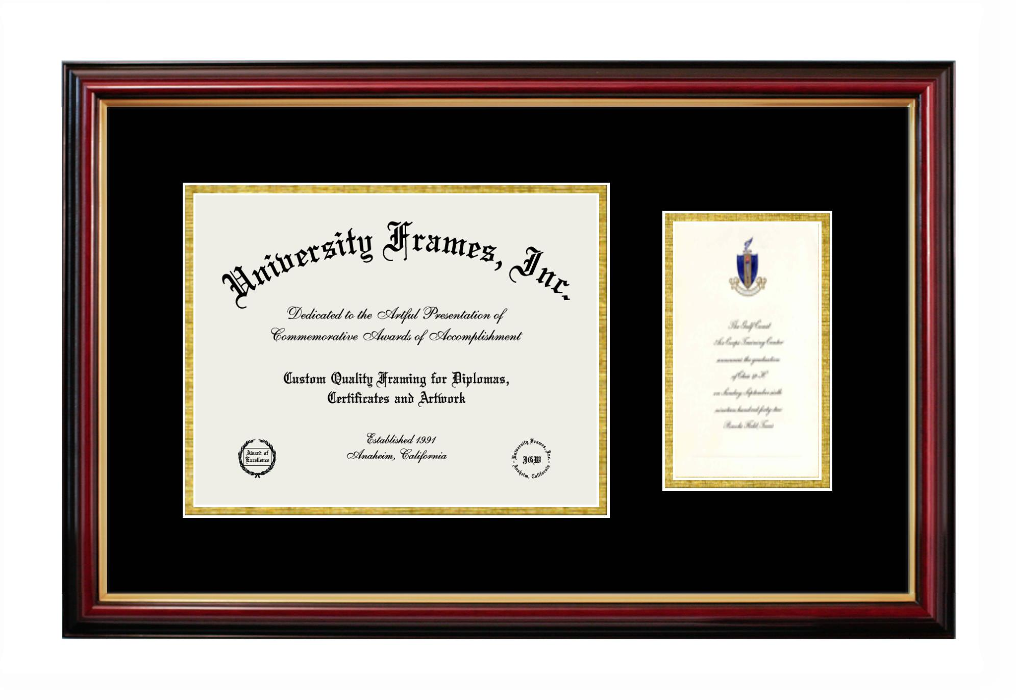 Diploma with Announcement Frame in Petite Mahogany with Gold Trim with Black & Gold Mats
