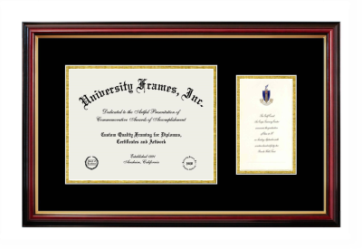 Unimprinted Mat Diploma with Announcement Frame in Petite Mahogany with Gold Trim with Black & Gold Mats