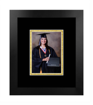 Unimprinted Mat 5x7 Portrait Frame in Manhattan Black with Black & Gold Mats