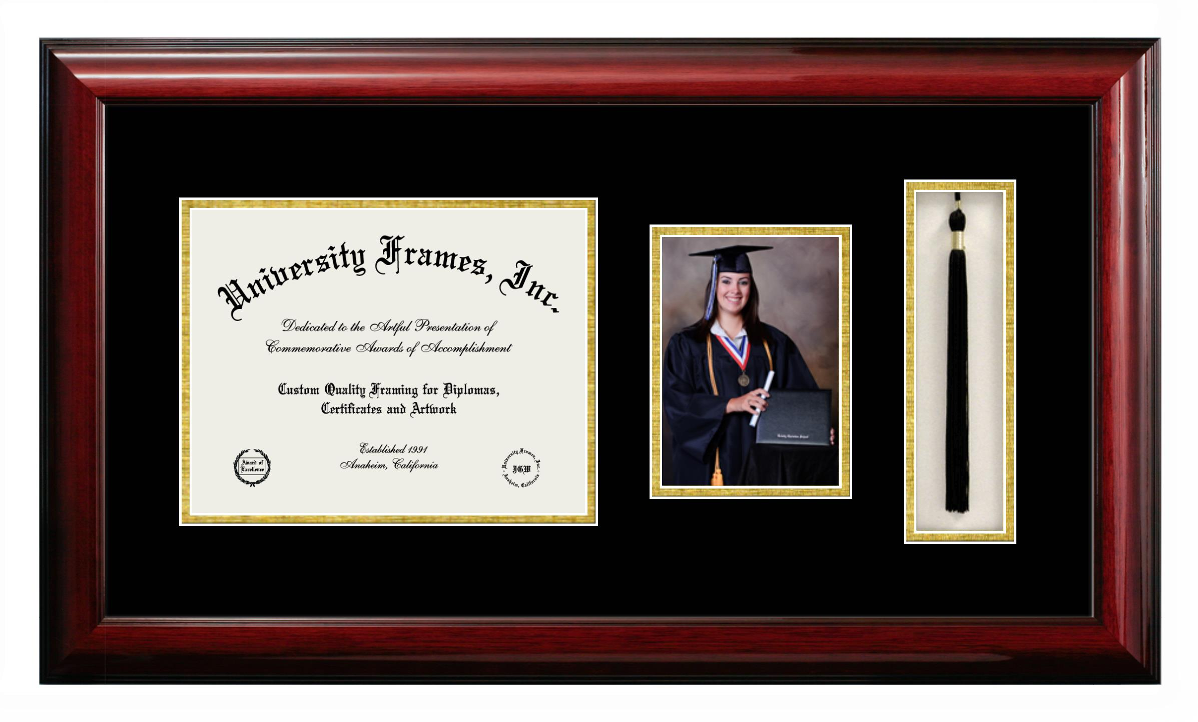 Unimprinted Mat Diploma with 5 x 7 Portrait & Tassel Box Frame in Classic Mahogany with Black & Gold Mats