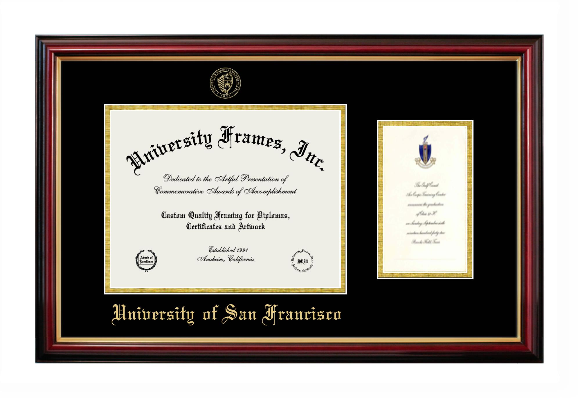 University Of San Francisco Diploma With Announcement Frame In Petite Mahogany With Gold Trim With Black Gold Mats