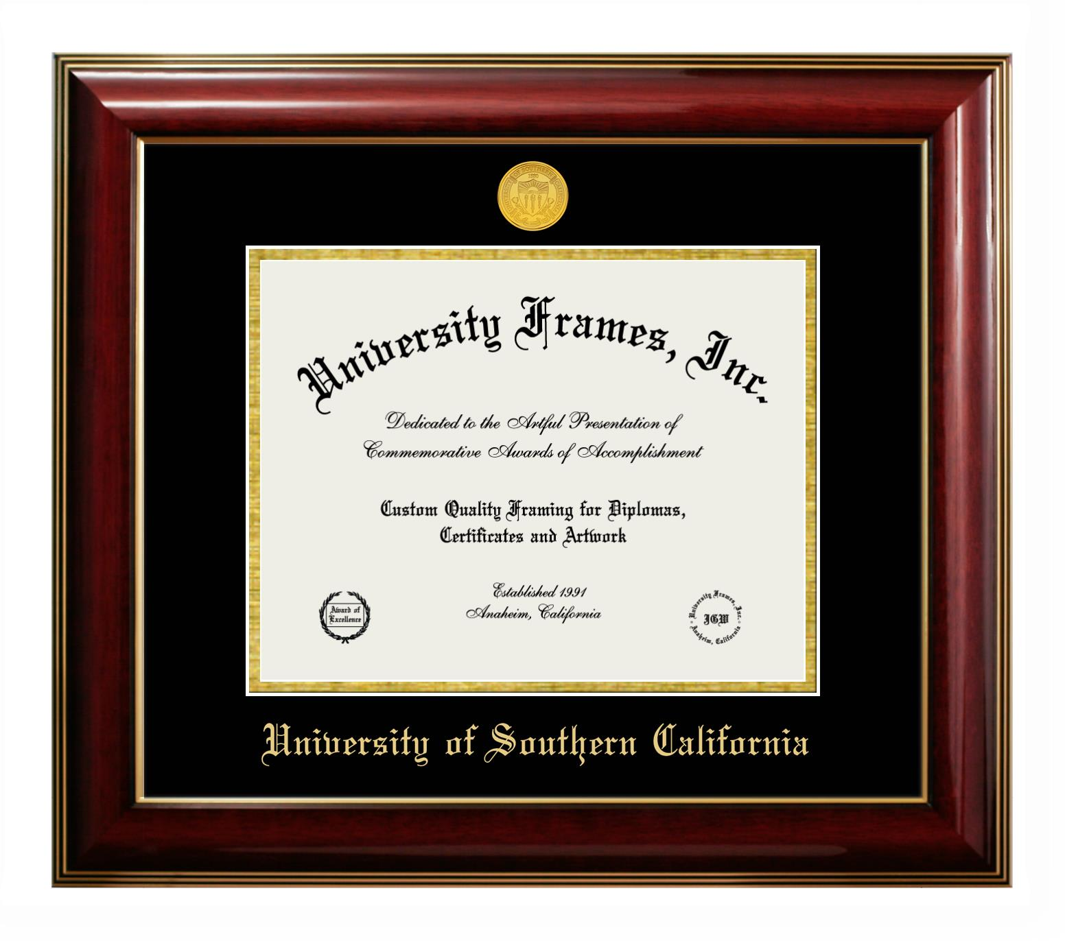 """University of Southern California University of Southern California Diploma Frame in Classic Mahogany with Gold Trim with Black & Gold Mats for DOCUMENT: 8 1/2""""H X 11""""W"""