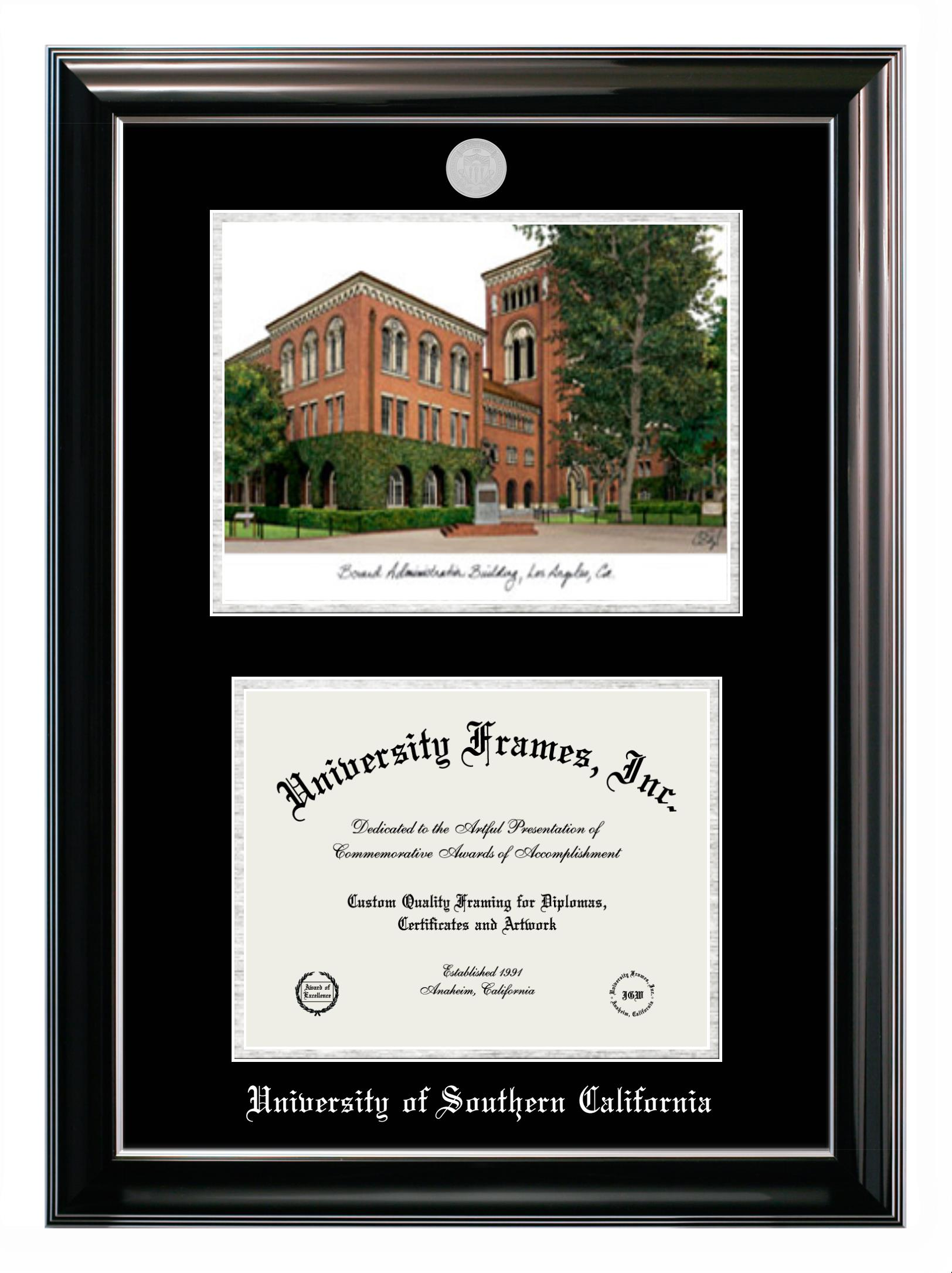 """University of Southern California University of Southern California Double Opening with Campus Image (Stacked) Frame in Classic Ebony with Silver Trim with Black & Silver Mats for DOCUMENT: 8 1/2""""H X 11""""W"""
