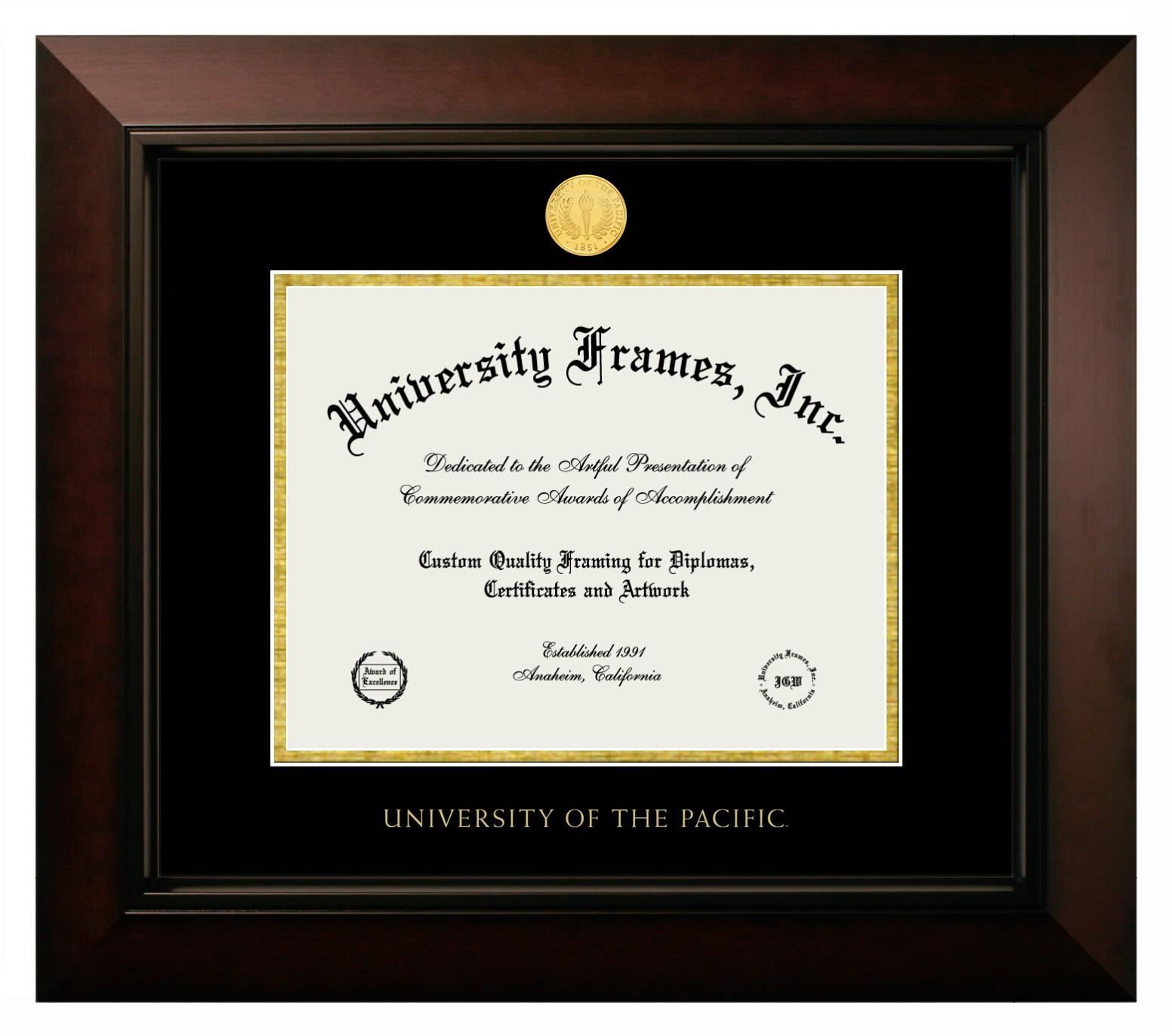 University Of The Pacific Diploma Frame In Legacy Black Cherry With Black Gold Mats