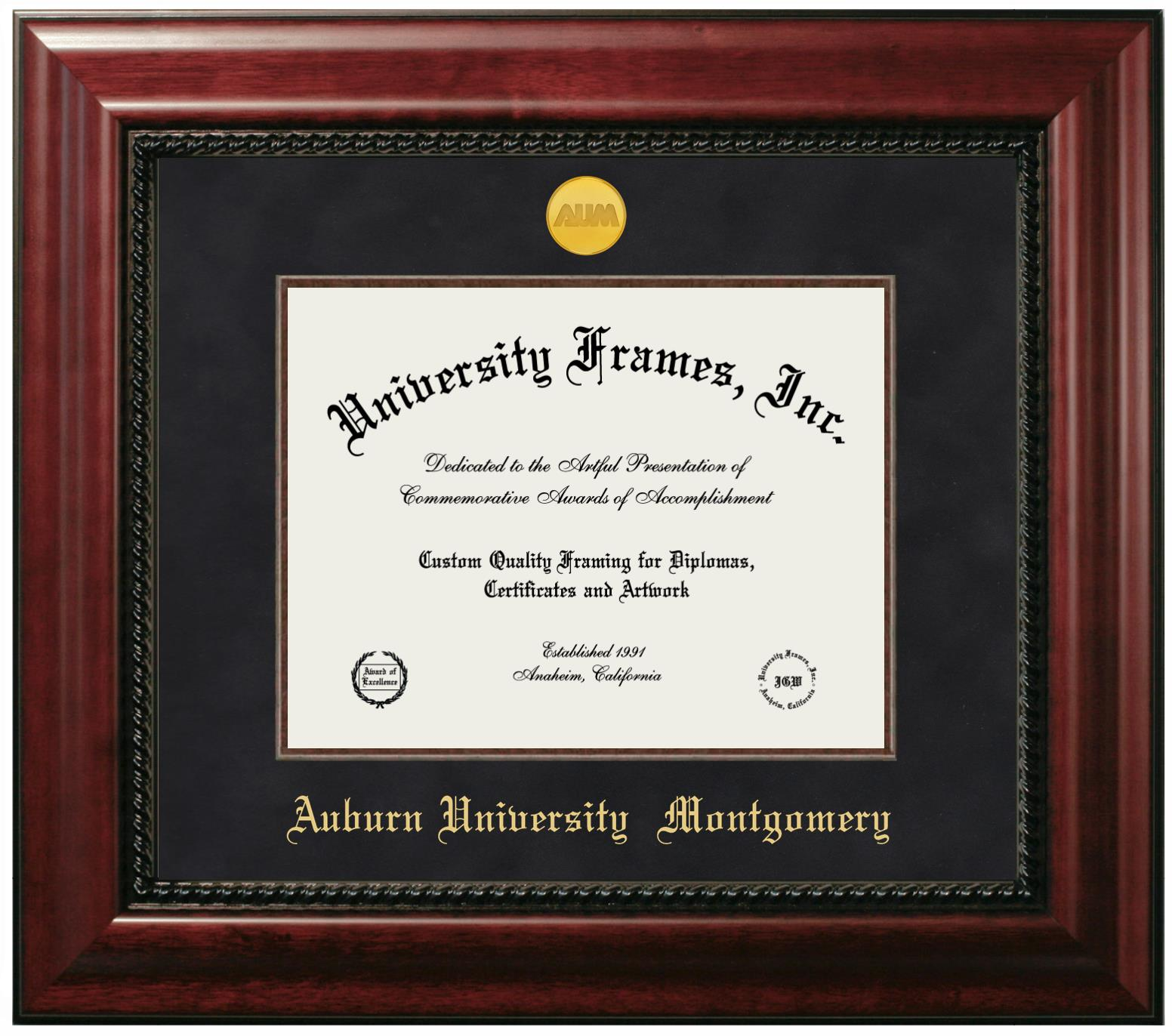 Auburn University Montgomery Diploma Frame In Executive With Gold Fillet With Black Suede Mat