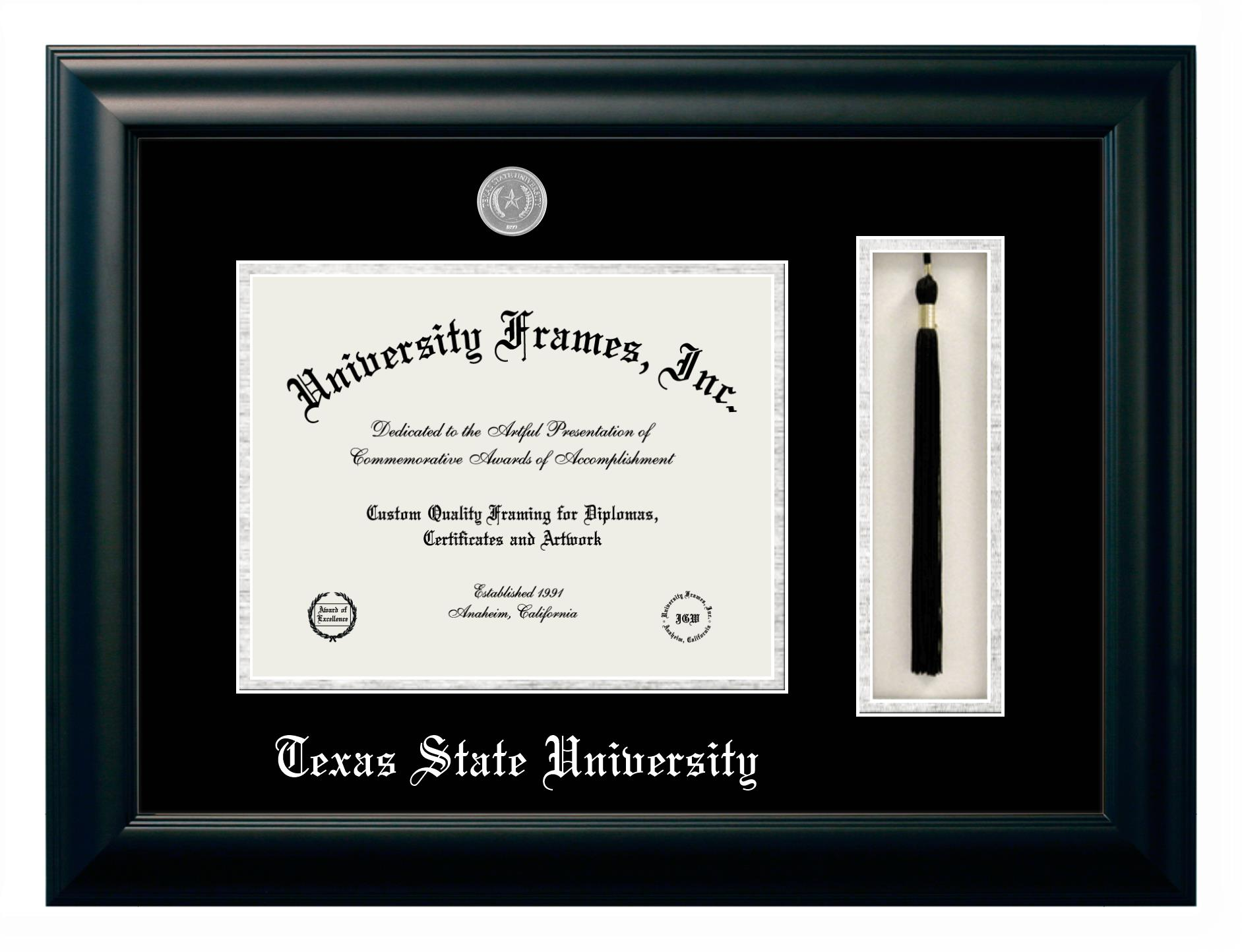 """Texas State University Texas State University Diploma with Tassel Box Frame in Satin Mahogany with Black & Silver Mats for DOCUMENT: 8 1/2""""H X 11""""W"""