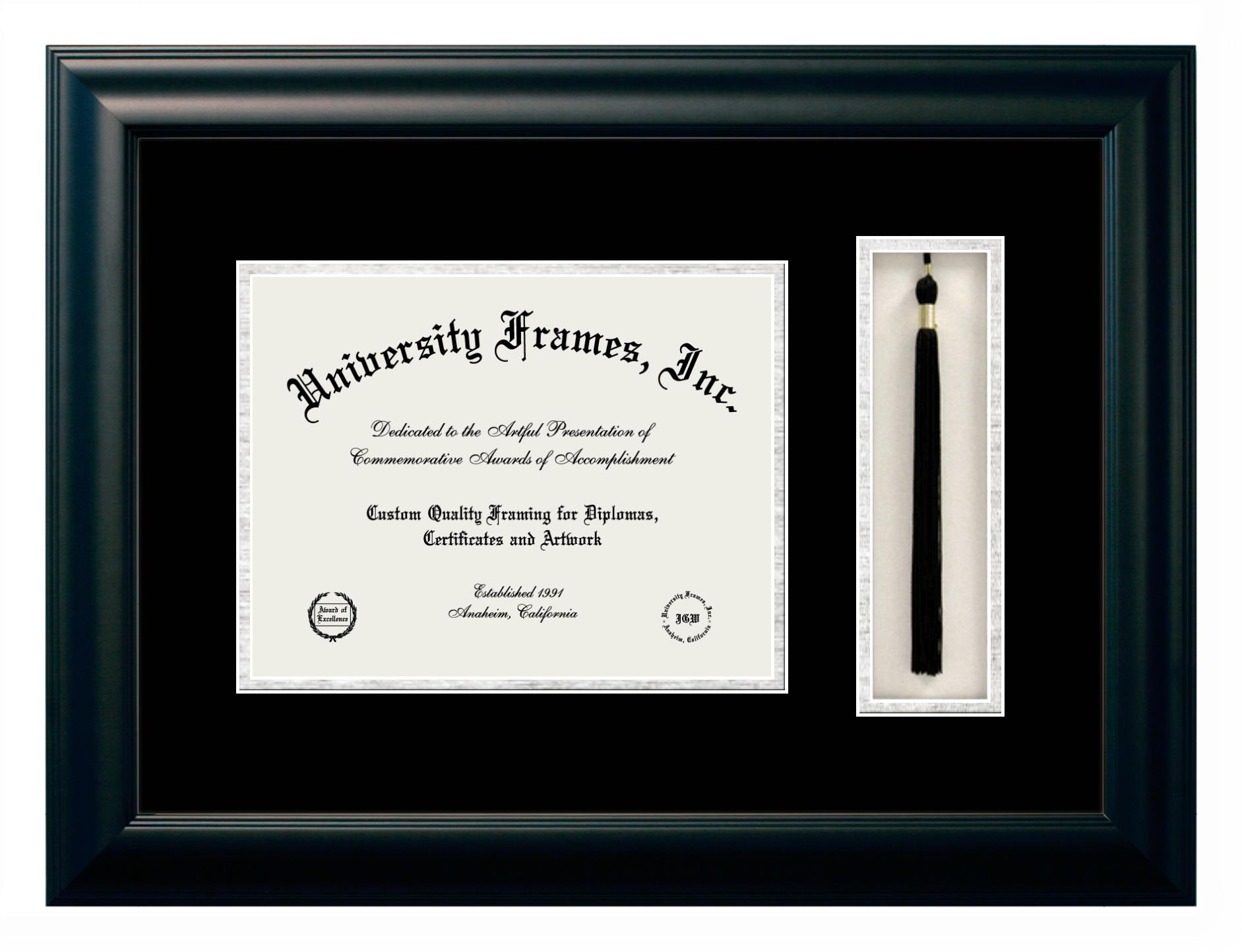 Diploma with Tassel Box Frame in Satin Mahogany with Black & Silver Mats