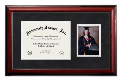Unimprinted Mat Diploma with 5 x 7 Portrait Frame in Classic Mahogany with Silver Trim with Black Suede & Silver Mats