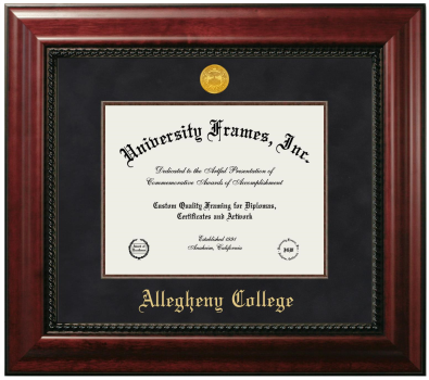 "Allegheny College Diploma Frame in Executive with Gold Fillet with Black Suede Mat for DOCUMENT: 8 1/2""H X 11""W"