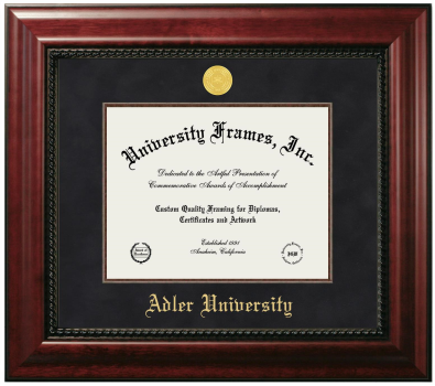 "Adler University Diploma Frame in Executive with Gold Fillet with Black Suede Mat for DOCUMENT: 8 1/2""H X 11""W"