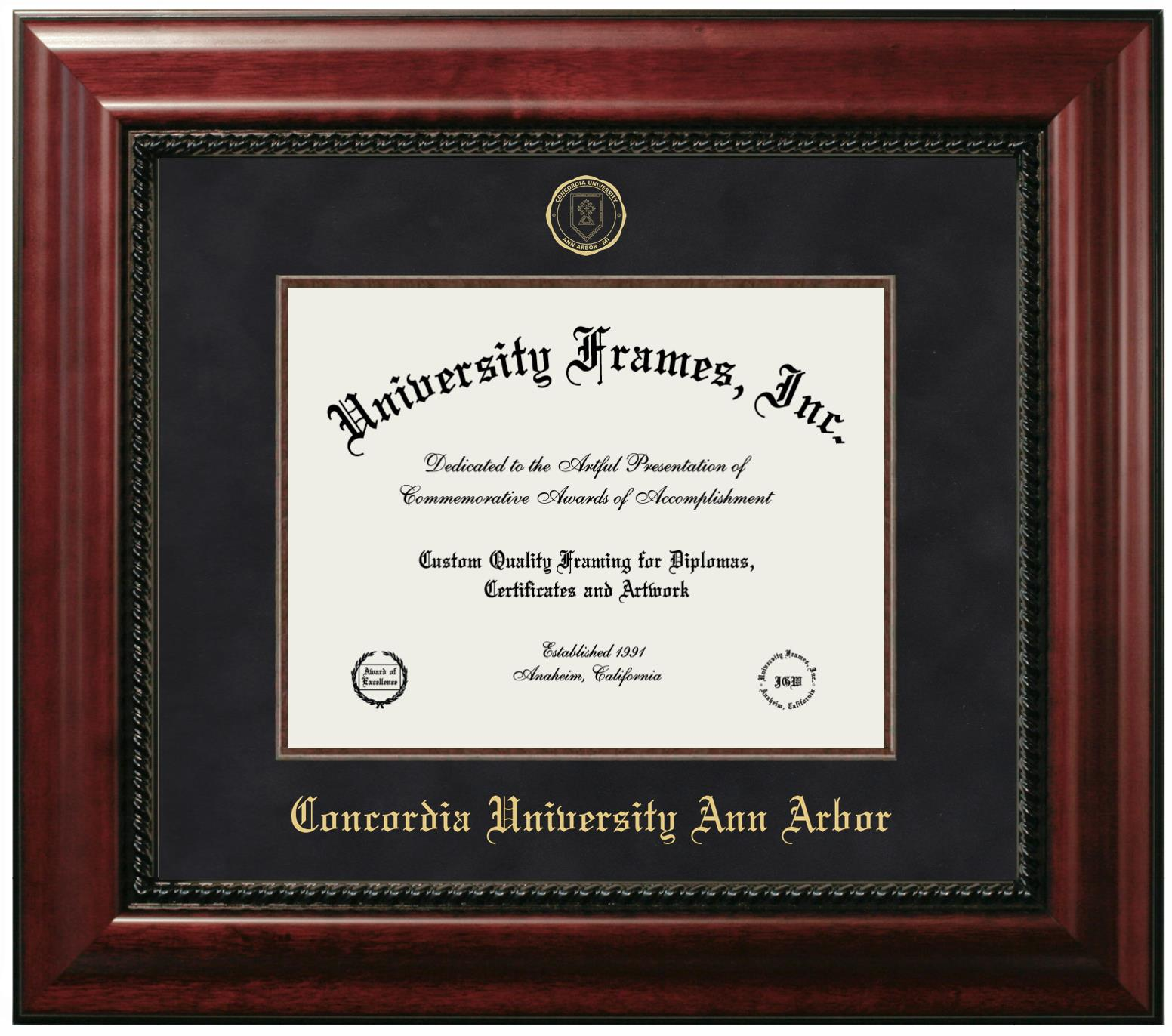 Concordia University Ann Arbor Diploma Frame In Executive With Gold Fillet With Black Suede Mat