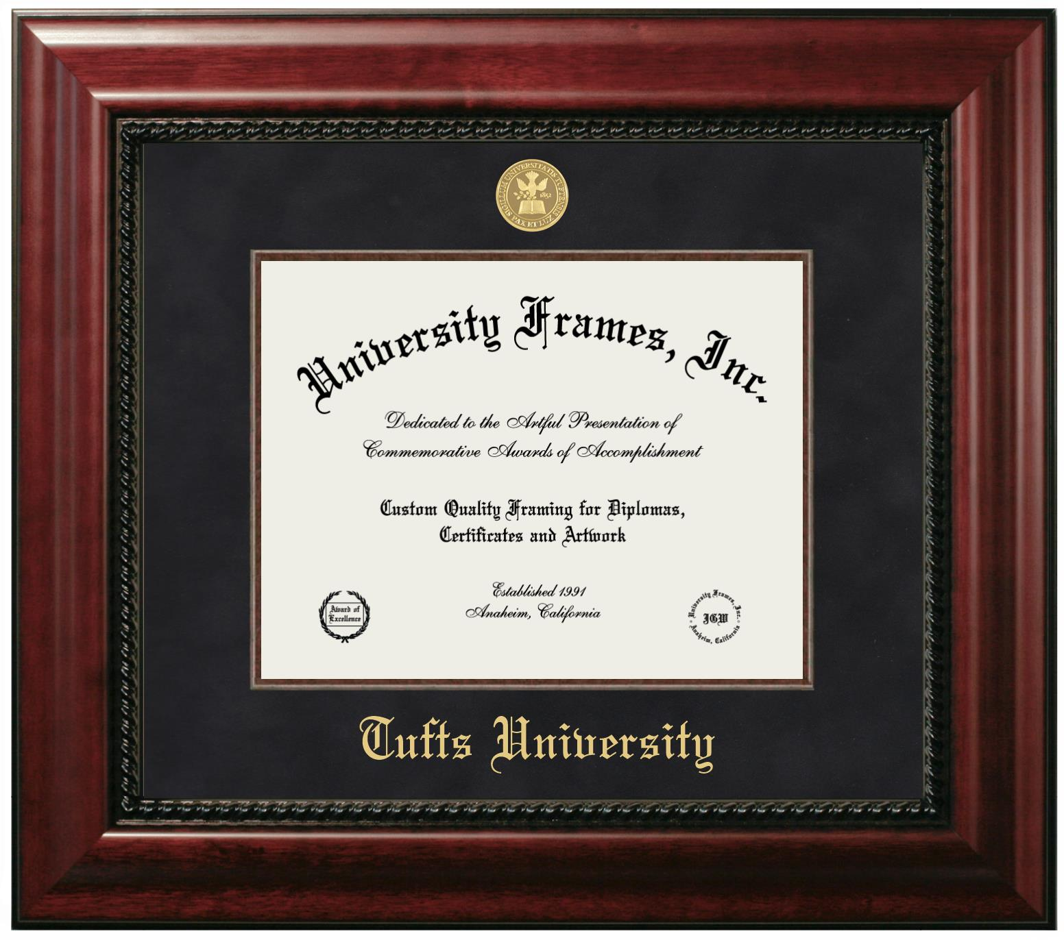 Tufts University Diploma With Announcement Frame In Petite Mahogany With Gold Trim With Black Gold Mats