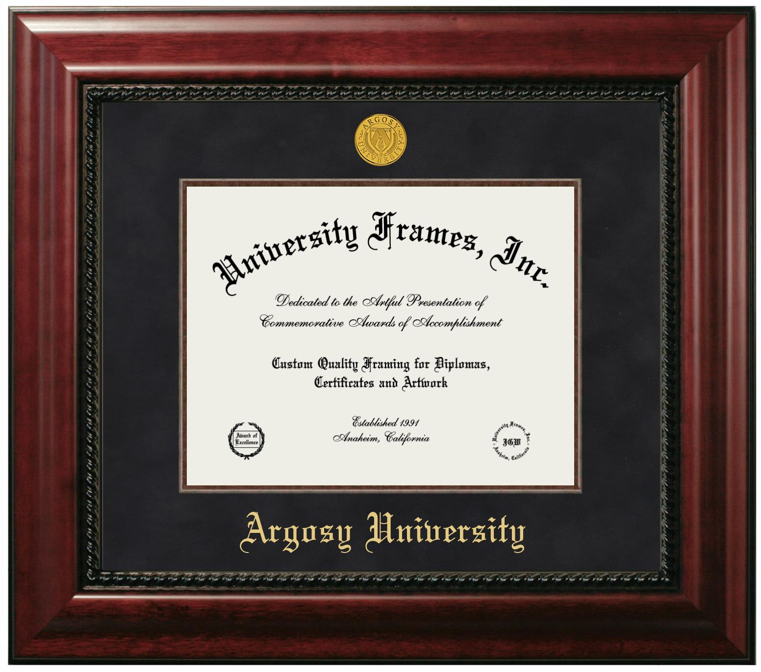 Argosy University Diploma Frame In Executive With Gold Fillet With Black Suede Mat