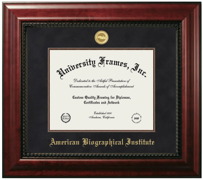 "American Biographical Institute Diploma Frame in Executive with Gold Fillet with Black Suede Mat for DOCUMENT: 8 1/2""H X 11""W"