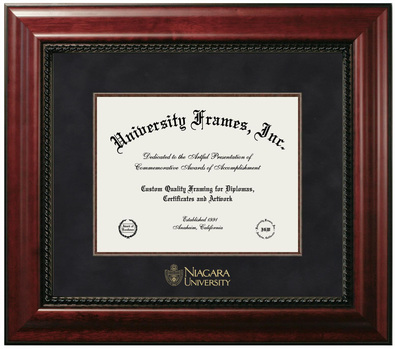 Niagara University Diploma Frame In Executive With Gold Fillet With Black Suede Mat