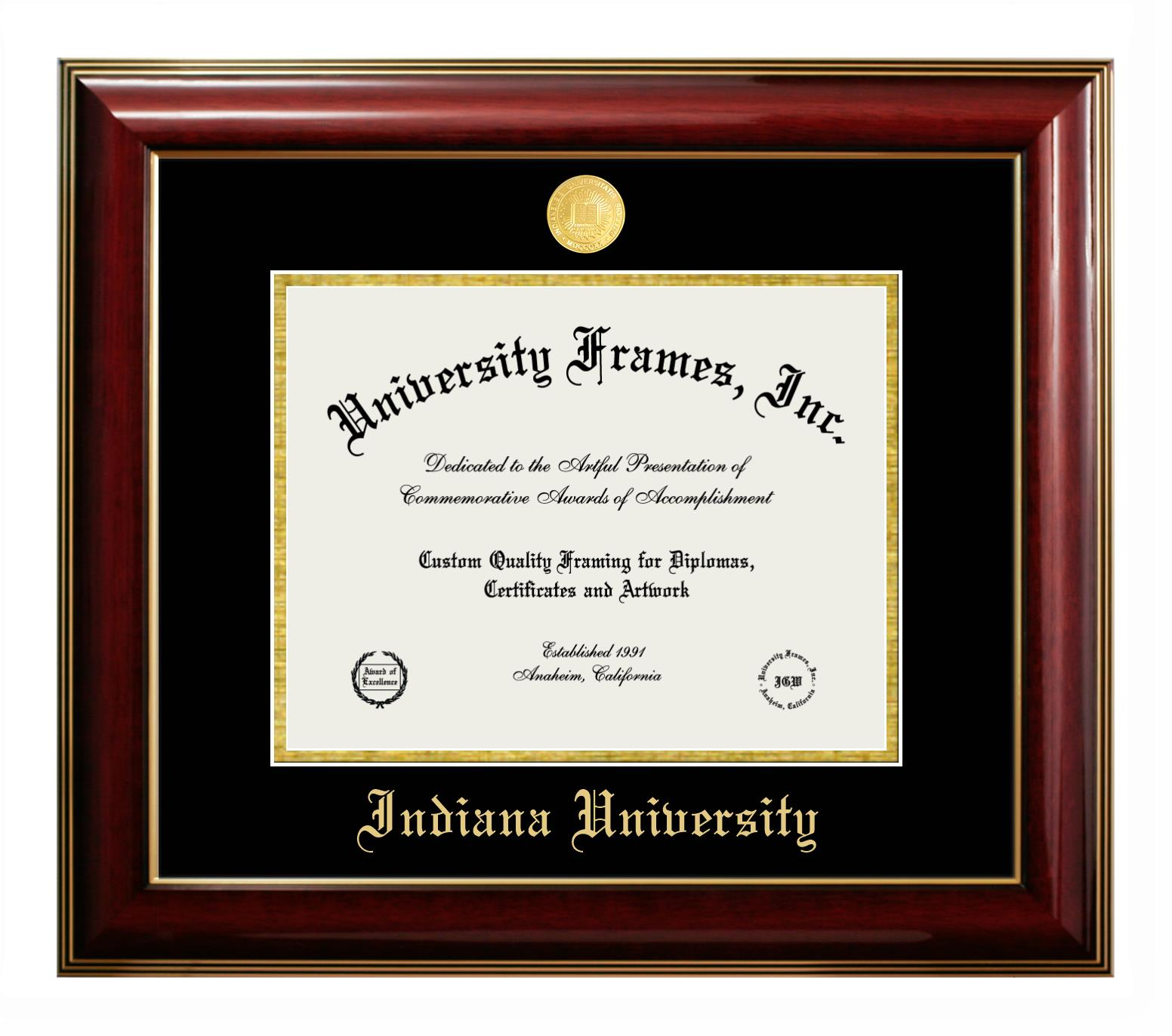 """Indiana University Indiana University Diploma Frame in Classic Mahogany with Gold Trim with Black & Gold Mats for DOCUMENT: 8 1/2""""H X 11""""W"""