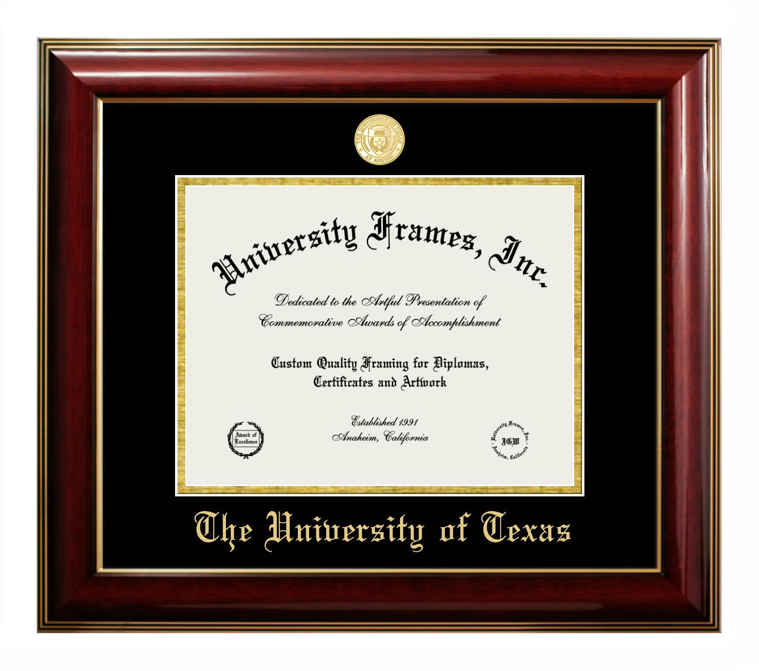 """The University of Texas (Austin) The University of Texas (Austin) Diploma Frame in Classic Mahogany with Gold Trim with Black & Gold Mats for DOCUMENT: 8 1/2""""H X 11""""W"""