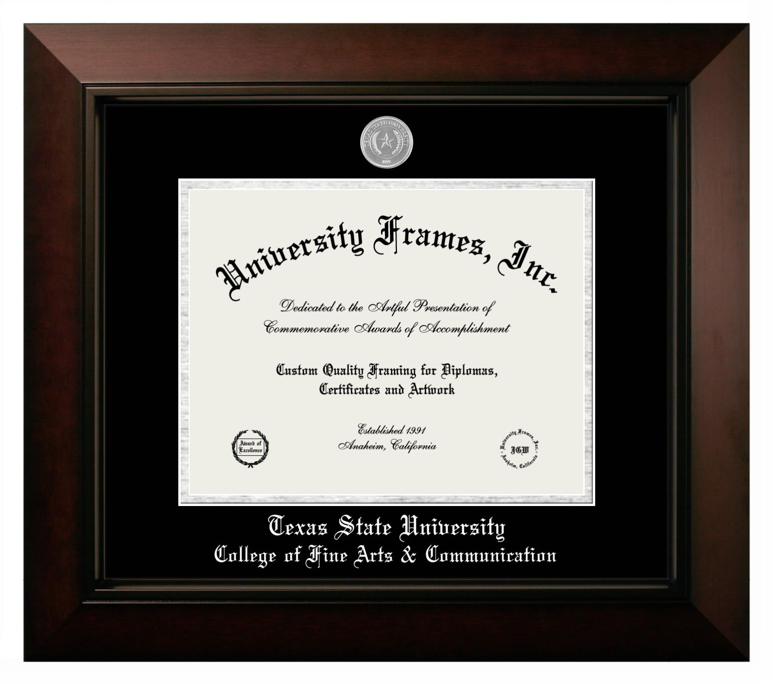"""Texas State University College of Fine Arts & Communication Texas State University College of Fine Arts & Communication Diploma Frame in Legacy Black Cherry with Black & Silver Mats for DOCUMENT: 8 1/2""""H X 11""""W"""