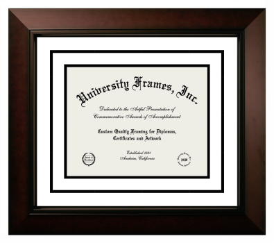 Diploma with Channel Cut Frame in Legacy Black Cherry with White & Black Mats