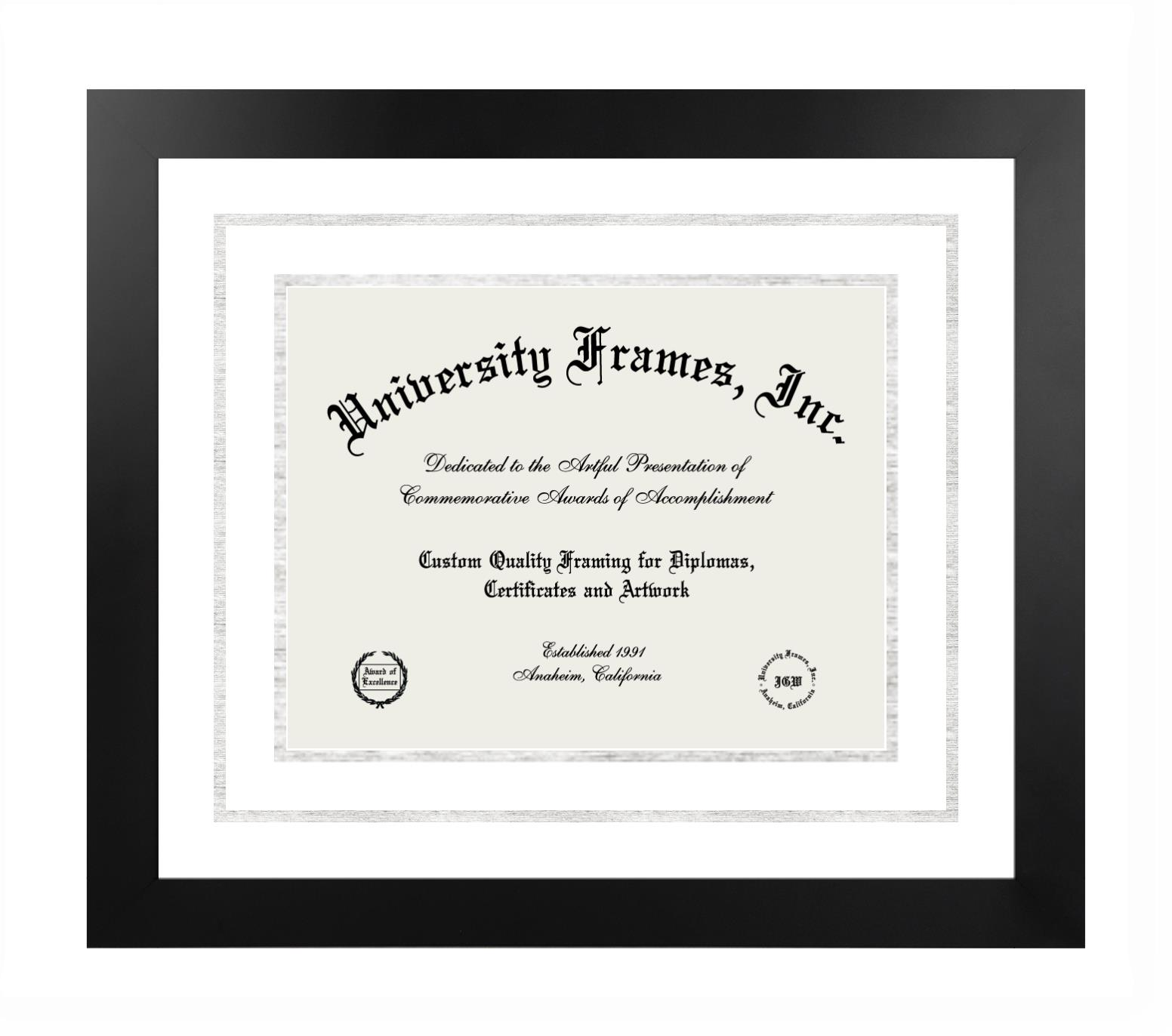 Diploma with Channel Cut Frame in Manhattan Black with White & Silver Mats