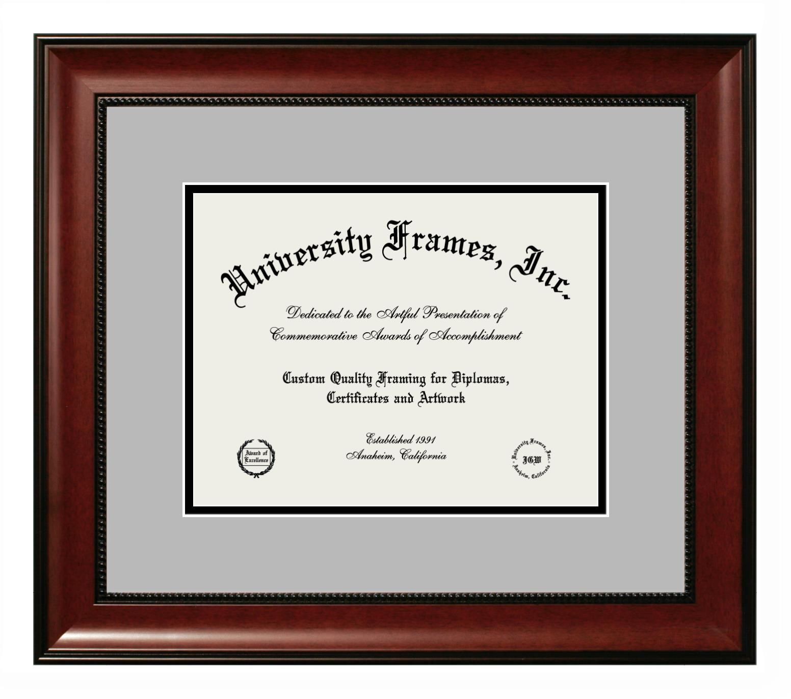 Diploma Frame in Avalon Mahogany with Gray & Black Mats
