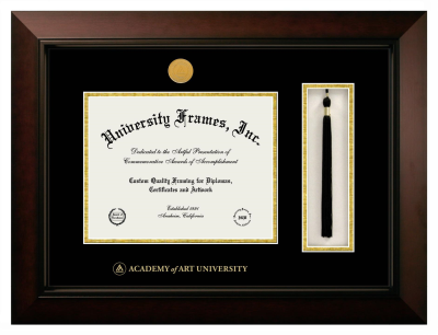 "Academy of Art University Diploma with Tassel Box Frame in Legacy Black Cherry with Black & Gold Mats for DOCUMENT: 8 1/2""H X 11""W"