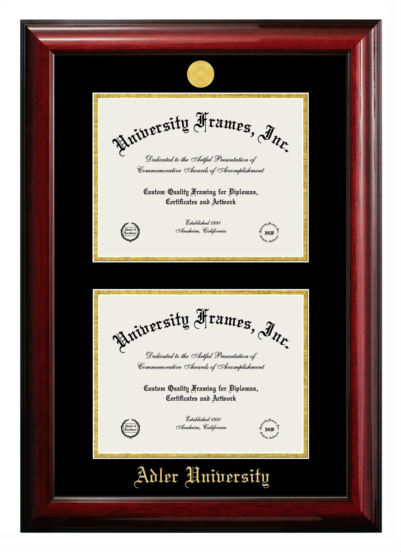 "Adler University Adler University Double Degree (Stacked) Frame in Classic Mahogany with Black & Gold Mats for DOCUMENT: 8 1/2""H X 11""W  , DOCUMENT: 8 1/2""H X 11""W"