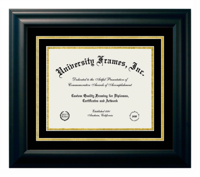 Diploma with Channel Cut Frame in Satin Mahogany with Black & Gold Mats