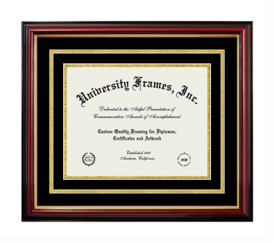 Diploma with Channel Cut Frame in Petite Mahogany with Gold Trim with Black & Gold Mats