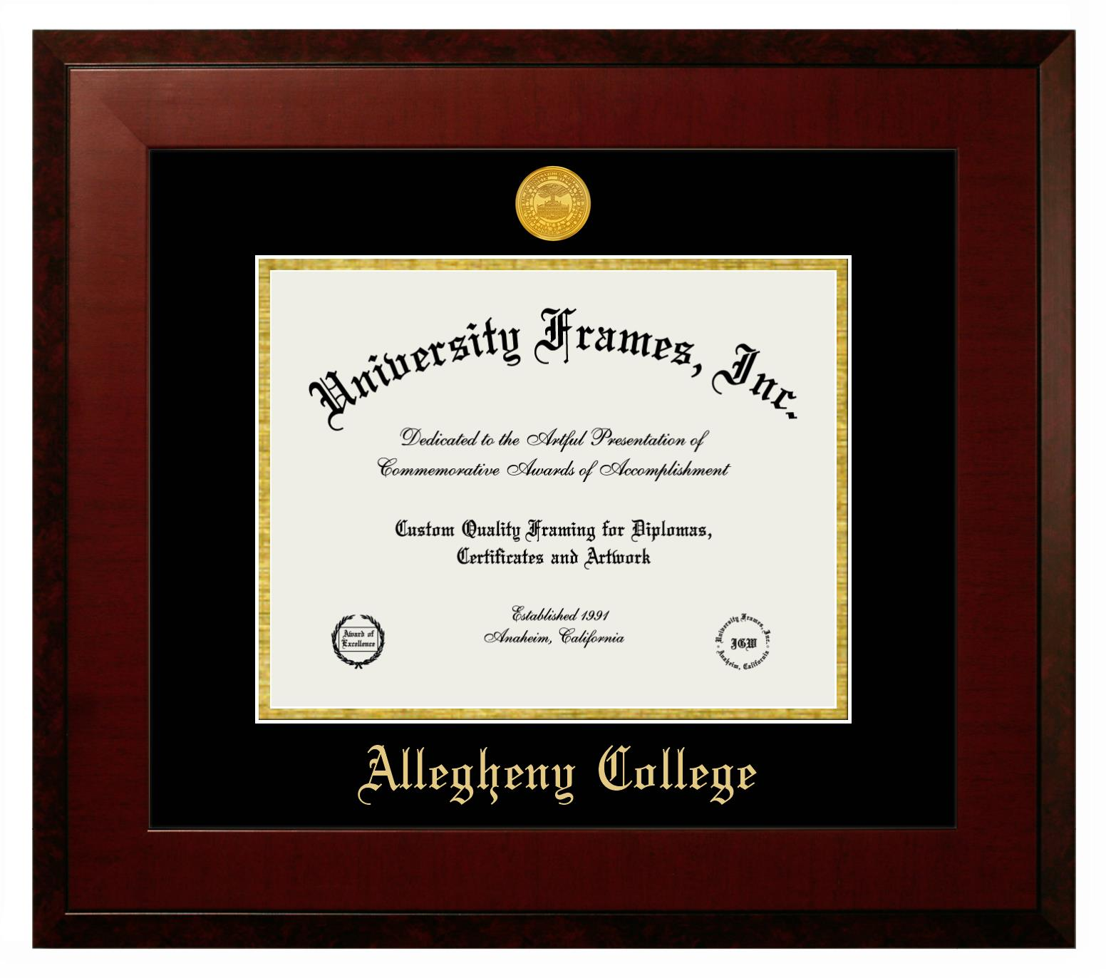 "Allegheny College Allegheny College Diploma Frame in Honors Mahogany with Black & Gold Mats for DOCUMENT: 8 1/2""H X 11""W"