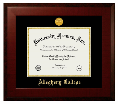 "Allegheny College Diploma Frame in Honors Mahogany with Black & Gold Mats for DOCUMENT: 8 1/2""H X 11""W"