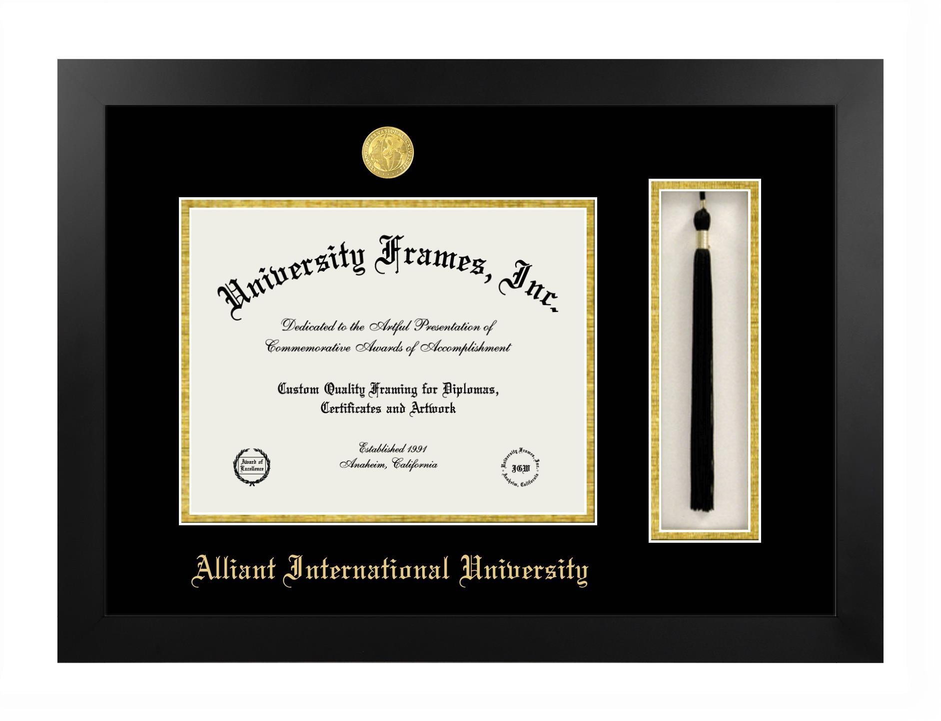 "Alliant International University Alliant International University Diploma with Tassel Box Frame in Manhattan Black with Black & Gold Mats for DOCUMENT: 8 1/2""H X 11""W"