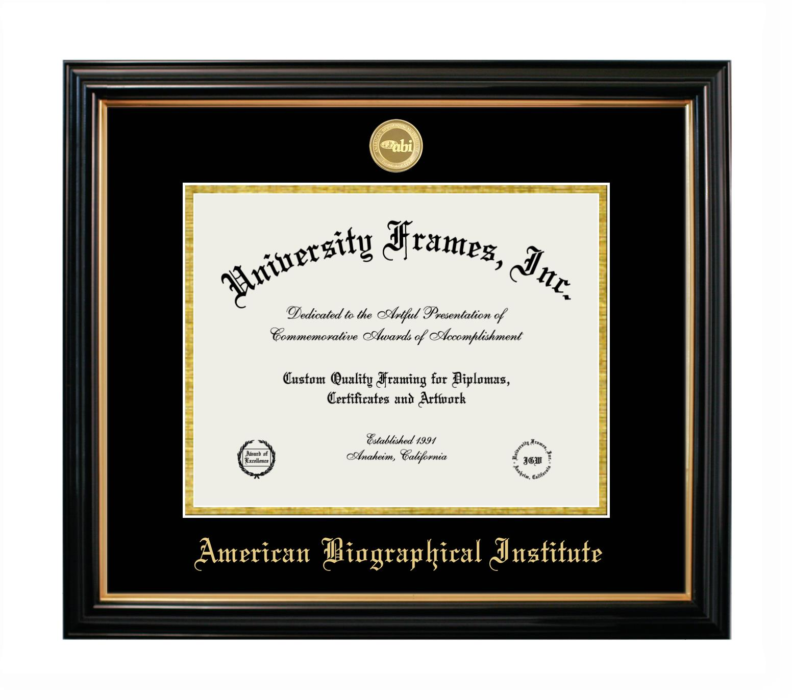 "American Biographical Institute American Biographical Institute Diploma Frame in Petite Black with Gold Trim with Black & Gold Mats for DOCUMENT: 8 1/2""H X 11""W"