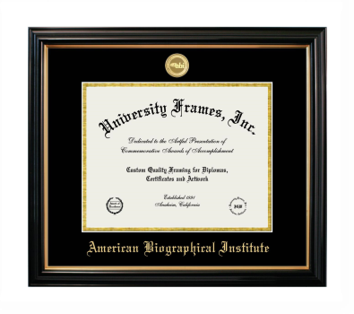 "American Biographical Institute Diploma Frame in Petite Black with Gold Trim with Black & Gold Mats for DOCUMENT: 8 1/2""H X 11""W"